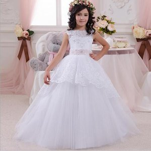 New Brand White Tulle Ball Gown Beaded Lace Flower Girls Dresses With Bow Back Vestido de nina de las flores