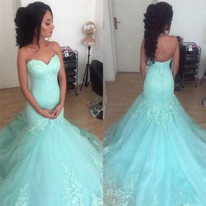 Wholesale Sweetheart Appliques Tulle Evening Party Gowns Vestido De Formatura Robe De Soiree Mint Green Mermaid Prom Dresses
