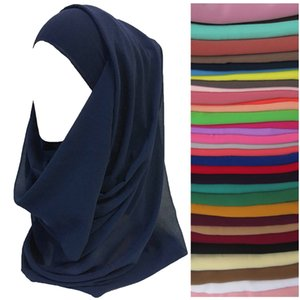 Wholesale Hiqh Quality Plain Colors Chiffon Women Head Scarf Shawl Wrap Muslim Hijab Headband 180cm x 75cm
