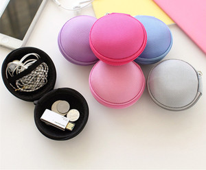 Wholesale Canvas Mini Portable Coin Purse Candy Colorful Round Fashion Earphone Cable Key Holder Bags