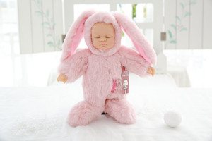 Cute Reborn Simulation Sleep Baby Doll Lifelike Alive Rabbit Silicone Baby Sleeping Plush Doll Kids Toy Birthday Girl Gift on Sale