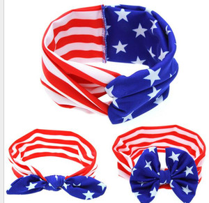 Wholesale American National Flag baby kids Hair Accessories children headdress baby bowknot hairpin baby hair clip cute girl headbands head scarfs