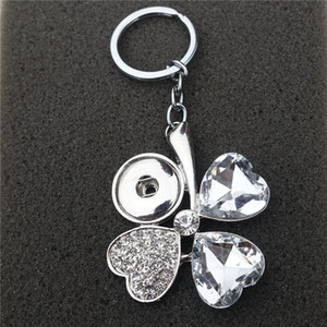Wholesale 12pcs Fashion Clear Rhinestone Four Leaf Clover Keychain Noosa Chunks Metal Ginger mm Snap Button Keyring Jewelry