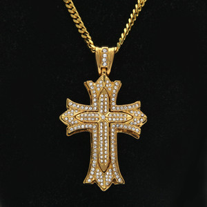 Wholesale Antique Gothic Silver Gold Flower Cross pendant Hip Hop Full Iced Out Crystal Rhinestone Elegant Long Cuban Chain
