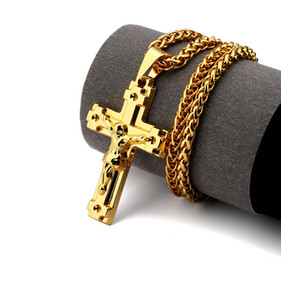 Wholesale Hip hop mens K Gold Plated Jesus Cross Medal Pendant Necklace Hip hop Rap Golden Crucifixio Pendant quot Cuban Chain Necklace Men Jewelry