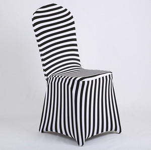 Wholesale New Products Hot Sale Black and White Stripe Print Lycra Chair Cover Arch Front For Wedding Decoration Party