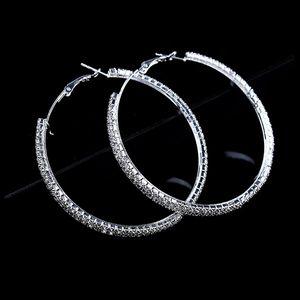 Fashion Big Crystal Earrings Hoops Large Hoop Earrings Silver Oorbellen Rond Creoles For Women Circle Jewelry Wedding Party Accessories
