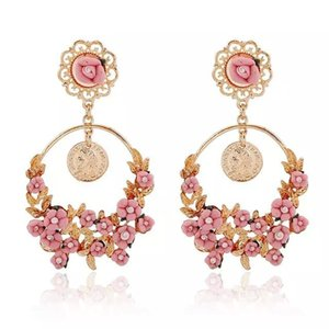 Wholesale Korean Brand Coin Flowers Round Dangle Earrings for Women Gold Filled Long Earrings Trendy Indian Jewelry boucle d oreille baroque earrings