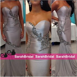 Wholesale 2k16 Fashion Girls Sexy Saudi Arabic Dubai Style Evening Dresses Formal Gowns Custom Made Handmade Silver Chiffon Beaded Prom Wear Fit Flare