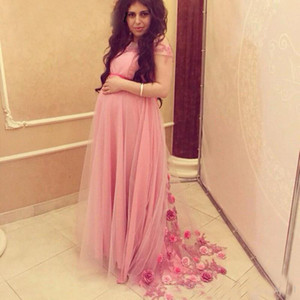 Wholesale maternity dresses pink resale online - Vestido de festa Elegant Pink Tulle Long Maternity Women Prom Evening Dresses Handmade Flowers Arabic Pregnant Bridal Party Wear