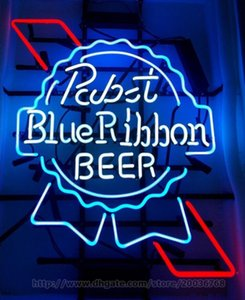 Wholesale Pabst Blue Ribbon Beer Neon Sign Bar Disco KTV Sign Handcrafted Real Glass Tube Light Advertisement Club PUB Display LED Sign quot X24 quot