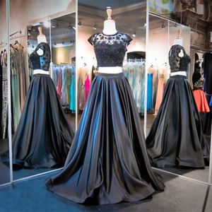 Newest 2 Piece A Line Evening Dresses Real Photo Cap Sleeve Beaded Long Formal Gowns robe de soiree Custom E033 Handmade on Sale