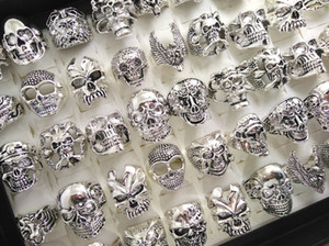 Wholesale Skull Skeleton Gothic Biker Rings Men s Rock Punk Ring Party Favor Top Styles Mix Fashoin Cool Jewelry HOT