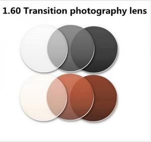 1.60 Transition photochromic lens glasses myopia color film becomes dimmed brown gray myopia resin lenses for prescription Free installation