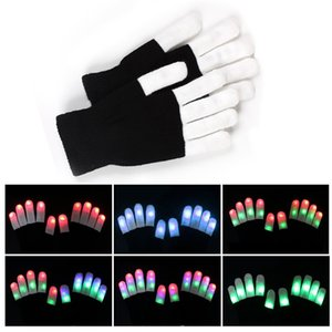 Wholesale LED Gloves Flash Five Fingers Light Ghost Dance Black Bar Stage Performance colorful Rave Light Finger Lighting Gloves Glow Flashing