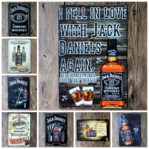 Wholesale lastest cm i fell in love with jack daniels Tin Sign Coffee Shop Bar Restaurant Wall Art decoration Bar Metal Paintings