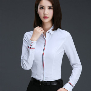 Wholesale Hot Blouse Shirt Women Cotton polyester Long Sleeve Blouses Turn Down Collar Shirts Ladies Tops Fashion Office Clothing