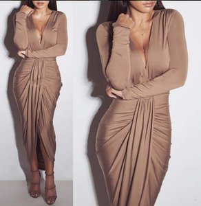 d29236bfa29c New Arrival Autumn European and American fashion deep V-neck sexy nightclub  ladies elegant folding dress factory price