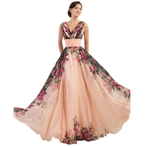 3 Designs Grace Karin Stock One Shoulder Flower Pattern Floral Print Chiffon Evening Dress Gown Party Long Prom dresses 2016 on Sale