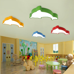 Wholesale dolphin lights resale online - Children s room LED ceiling lamp creative cartoon color dolphin lamp led ceiling lights warm bedroom entertainment room protective eye lamp