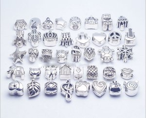Wholesale 40pcs Mix Style silver plated Big Hole Loose Beads metal charms For Pandora DIY Jewelry Bracelet For European charms Bracelet Necklace
