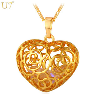 Wholesale unique New Trendy Flower Hollow Pendant Necklace Platinum K Real Gold Plated Crystal Stone Women Heart Jewelry Gift P800