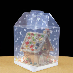 Wholesale 15 cm Chocolate House Transparent Package Box Cake Box Gingerbread House Boxes PP Food Container ZA5325