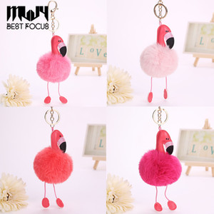 Wholesale Cartoon Flamingo Keychain Lovely Fluffy Artificial Rabbit Fur Ball Key Chain Animal Bird Pompom Women Car Bag Key Ring