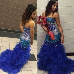 Girls Pageant Dresses For Teens Exposed Boning Crystal Beading Royal Blue Mermaid Prom Dress Ruffles Zipper Back Mermaid Evening Gowns on Sale