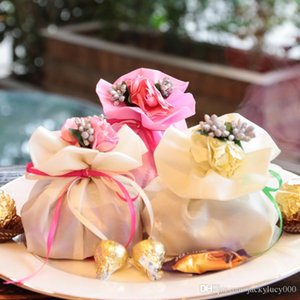 Wholesale Weds Wedding Centerpieces Favors Candy Box Elegant Artificial Bouquet Wedding Gifts Bags For Table Decoration Colors