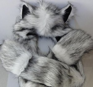Wholesale Faux Fur Animal Ears Hat Gloves Mittens Scarf Snood Hood Wolf Paws Halloween Costume Caps Wonderful Gift Xmas Favor Polyester