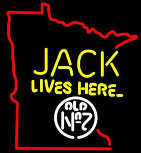 Wholesale Jack Daniels Lives Here Minnesota Map Neon Sign Beer Bar Handcrafted Real Glass Tube Light Advertisement Club PUB Display LED Sign quot X24 quot