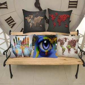 Wholesale Unique World Map Design Cotton Linen Throw Pillow Case Cushion Cover Home Sofa Decorative X Inch