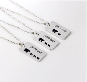 Wholesale Papa Bear Dad Engraved Black Enamel Dos Tag Pendant Necklace for men Father s Day Husband Gift Mens Jewelry Pendant Necklace