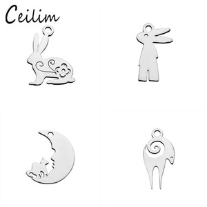 Wholesale Kawaii animal picture rabbit charms for jewelry making supplies stainless steel polishing goat metal charm fit DIY necklaces bracelets