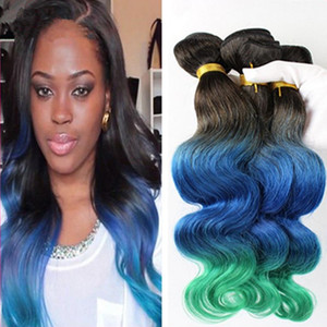 Newly Arrival #1B Blue Teal Ombre Three Tone Color 3Pcs Lot 300Gram Brazilian Hair Extensions Cheap Green Ombre Body Wave Human Hair Bundles