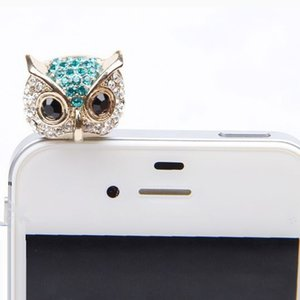 Wholesale Hillsionly New Arrival mm Crystal Owl Pattern Cellphone Anti Dust Dustproof Earphone Jack Stopper For Cell phone