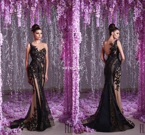 Wholesale Hanna Toumajean Arabic Evening Dress Black Mermaid Lace Applique Beads Trumpet See Through Prom Gowns Sheer Neck Sexy 2020 Party Dresses
