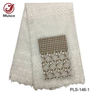 Wholesale Milylace japanese lace fabric champagne gold textile lace fabric embroidery yards polyester Guipure lace for dress PLS