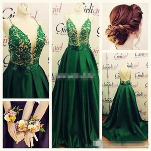 Emerald Green A Line Formal Evening Dresses Spaghetti Straps Lace Beaded Sexy Open Back Custom Made Celebrity Prom Party Gown Plus Size 2016 on Sale