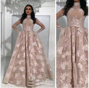 Wholesale 2017 elegant High Neck Long Sleeves Prom Dresses Appliqued Evening Gowns with Overskirt and Belts Sheer Pageant Dresses