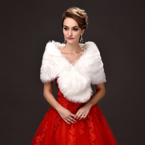 Wholesale Jane Vini New Faux Fur Bridal Wraps Pearl Ball White Rice Red Evening Dress Shawl Cloak Scarf Female Party Shawl Short Paragraphy