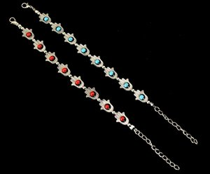 Wholesale Charm pendant metal chain link Eye Evil bracelet fashion jewelry red blue color European style design