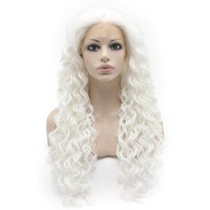 Wholesale heat resistant curly white wig for sale - Group buy 26inch Extra Long Curly White Heat Resistant Fiber Lace Front Synthetic Wig