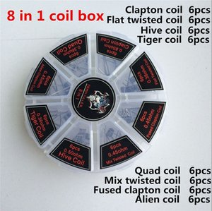 8 in 1 Demon Killer Coils Prebuilt Clapton Box Kit Quad Tiger Hive Alien Fused Clapton Mix Twisted Heating Wires Nichrome Resistance Wire