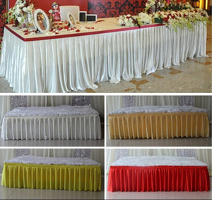 Wholesale pirate covers for sale - Group buy Fashion colorful ice silk table skirts cloth runner table runners decoration wedding pew table covers hotel event long runner decoration