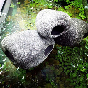 Funny Aquarium Fish Ceramic Small Rock Cave Stones Decoration For Fish Tank Benefical Accessories for Cichlids Existence