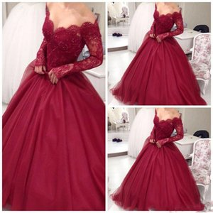 Off Shoulder Long Sleeve Prom Dress 2017 Lace Beadings Zipper Red Tutu Party Dress Women Cheap Sweep Train Evening Dress