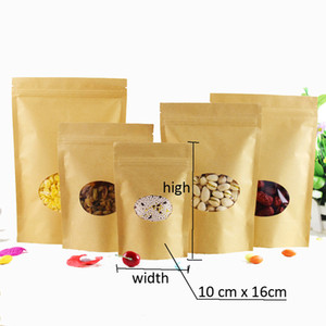 300pcs 8 sizes Kraft Paper Packaging bag Transparant round windows Stand Up Zipper Packing Bags Zip Lock Retailer Package