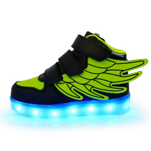 Creative Kids Shoes Led Lights Wings Shoes USB Charging Light Up Girls Boys 7 Colors Changing Flashing Lights Sneakers